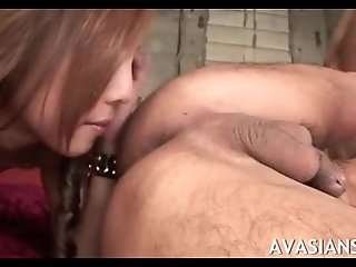 Anal loving asian threesome rim each others ass