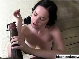 Worthless black cock whore worships Mandingo