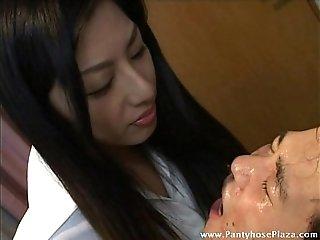 Licking gave slave a face-full of mistress' saliva