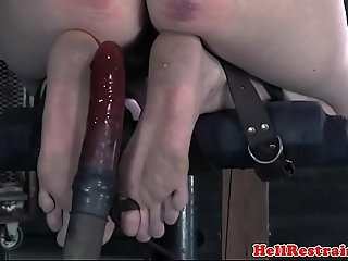 Nipple clamped sub pussy toyed by maledom