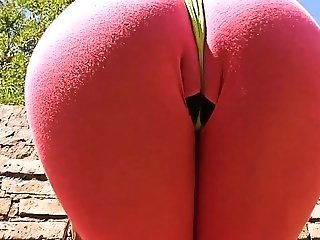 Big Ass Teen Doing Yoga in Tight Lycra and Thong. Busty Teen. Latina.