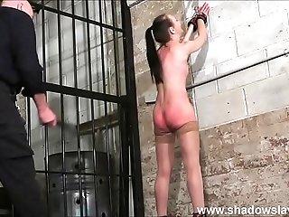 Strict whipping of amateur slave Lolani and spanking punishment of striped masoc