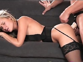 StrapOn Babe in black stocking and suspenders gets DP from strapon cock